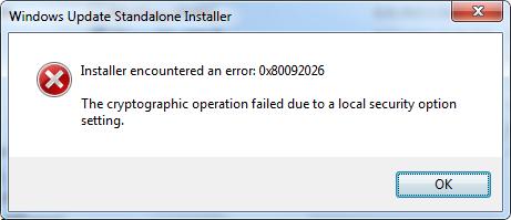 A very uninformative error message.