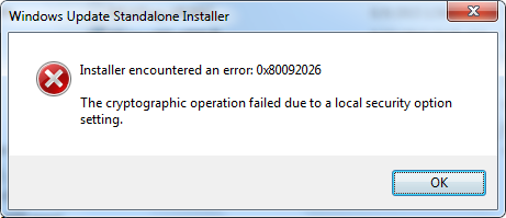 A very uninformative error message.