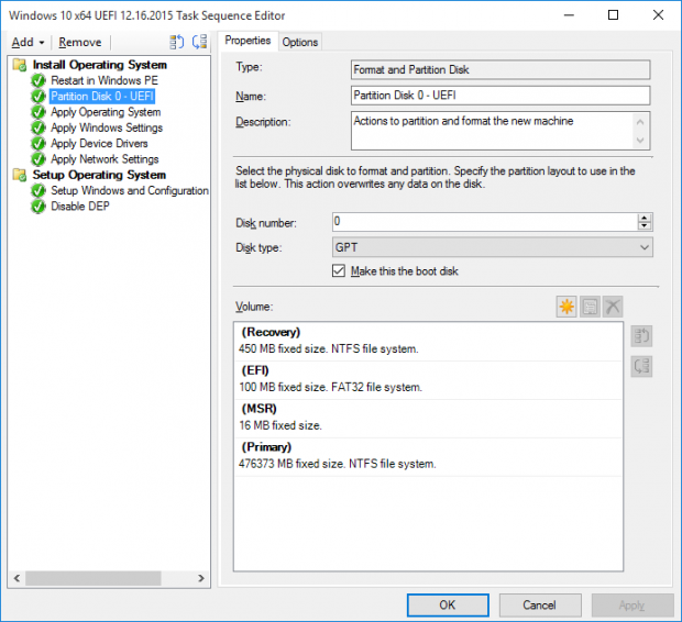 SCCM task sequence create partitions for UEFI Windows 10 deployment